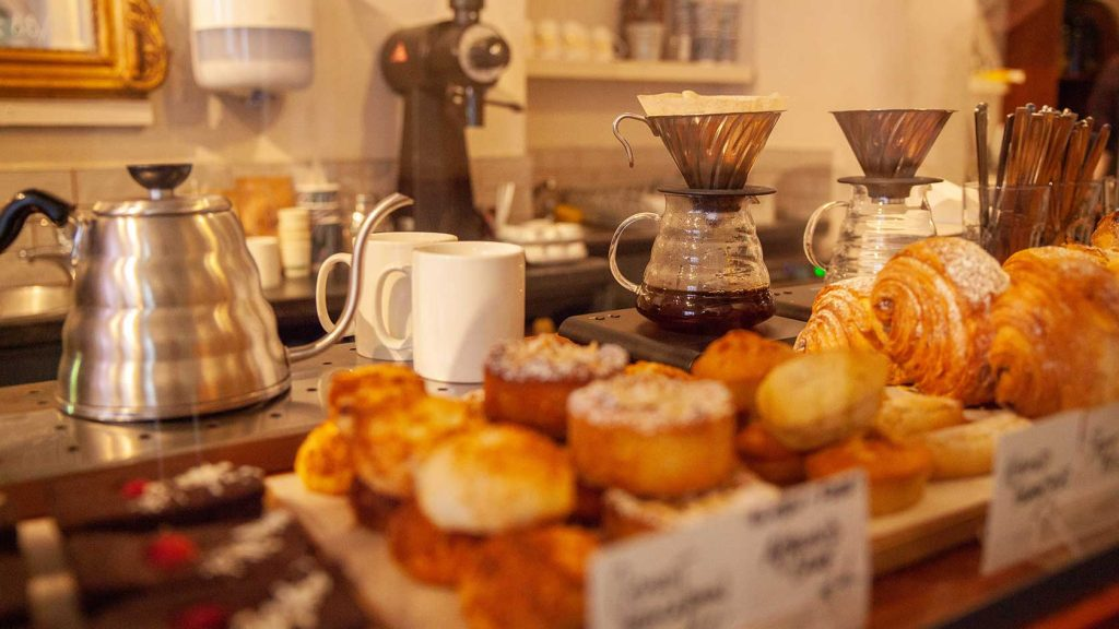 Pastry assortment and filter coffee